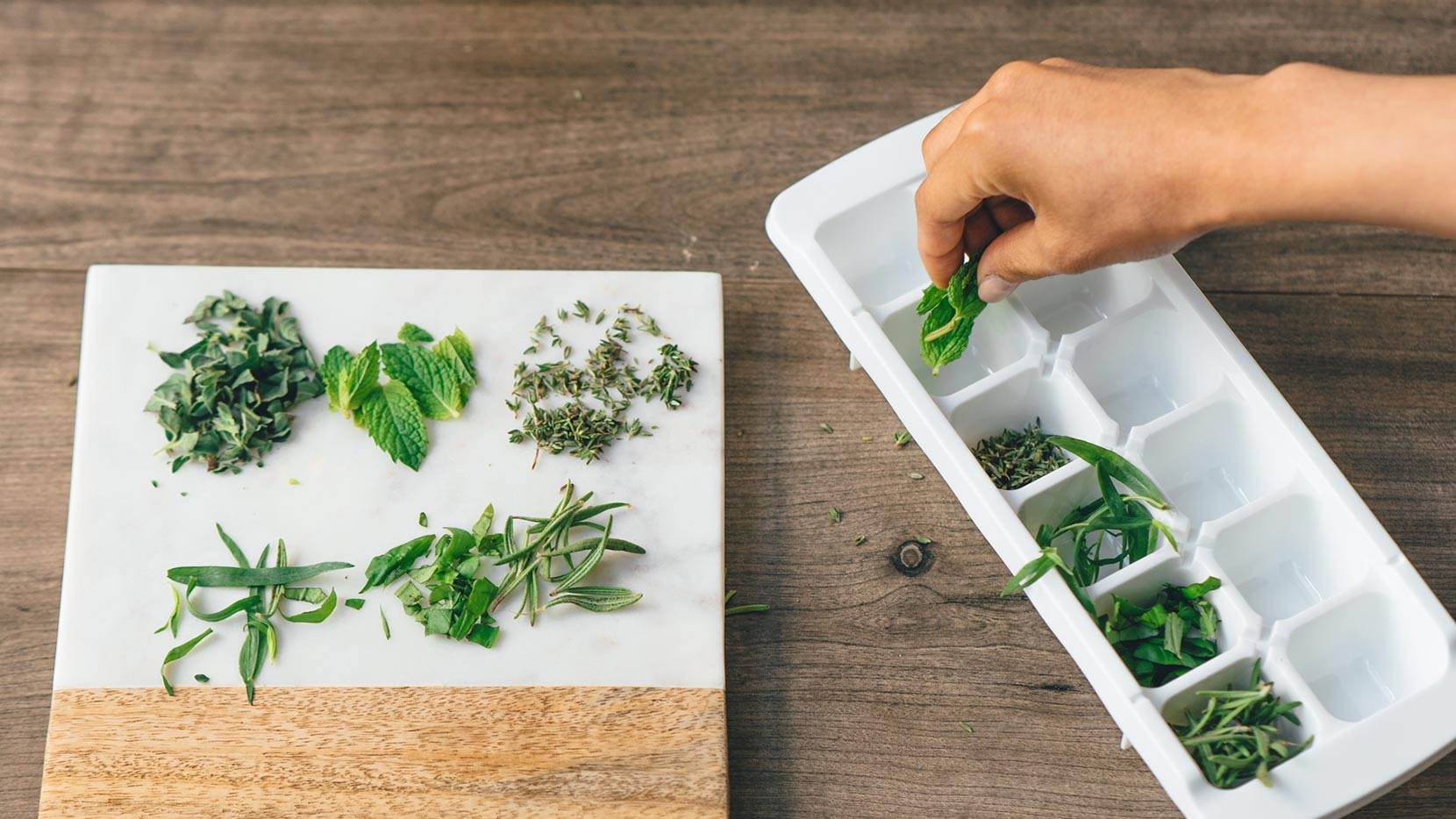 Add herbs to ice cube tray