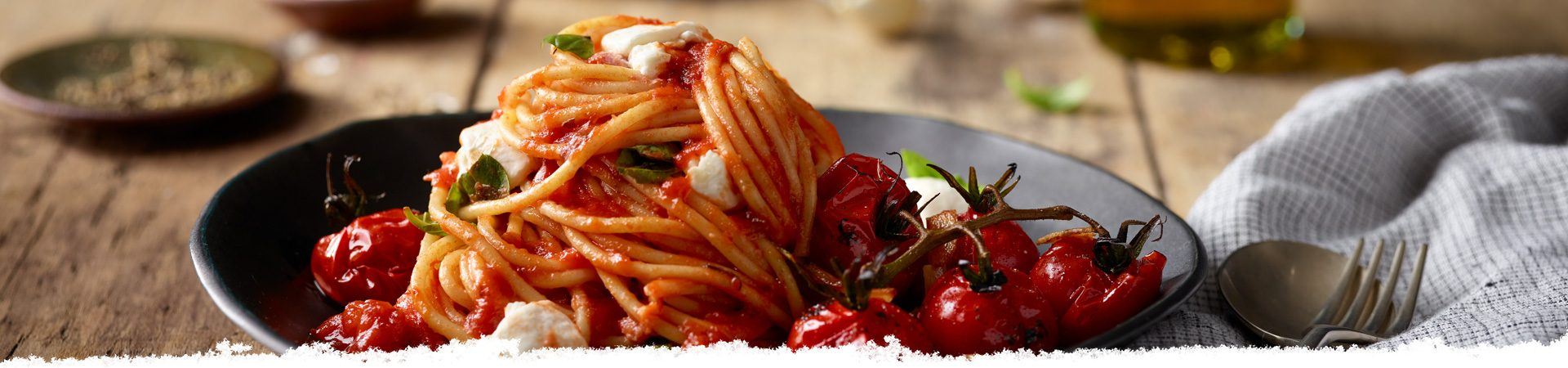 Spaghetti with Burrata & Blistered Cherry Tomatoes