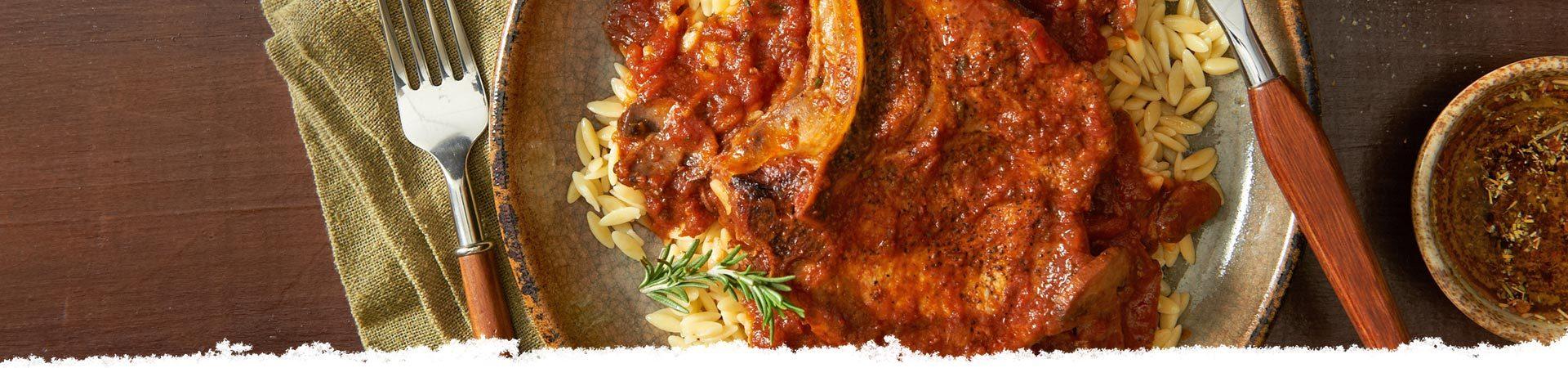 Balsamic & Burgundy Braised Pork Chops