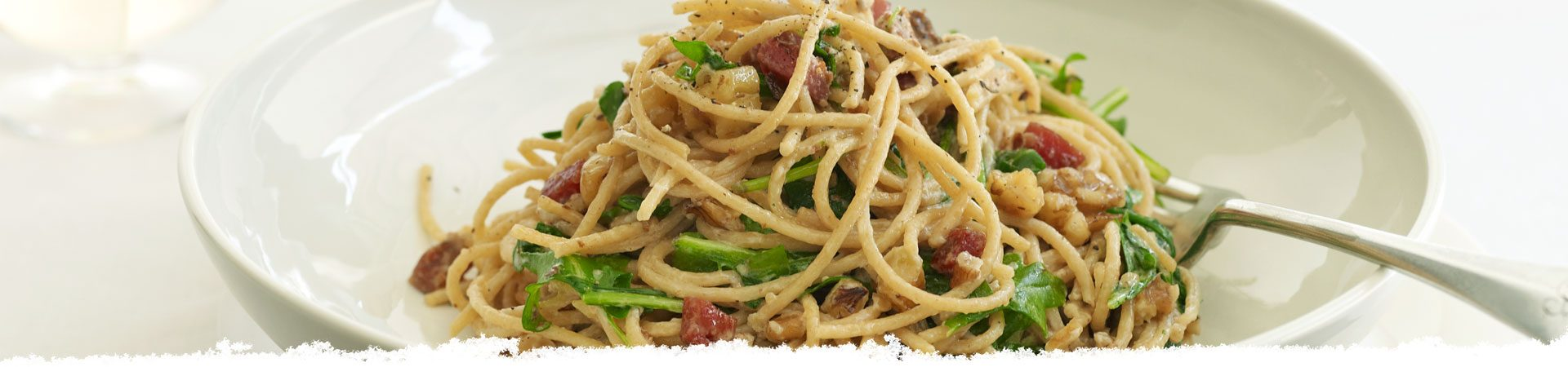 Pasta Alfredo with Pancetta and Arugula