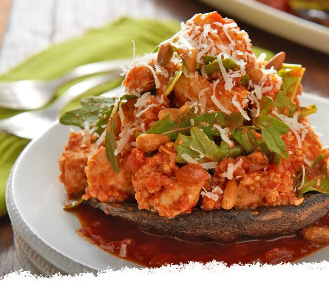 Balsamic & Caramelized Onion Chicken-Stuffed Mushrooms