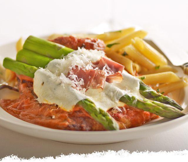 Chicken & Asparagus Parmesan in Vodka Sauce