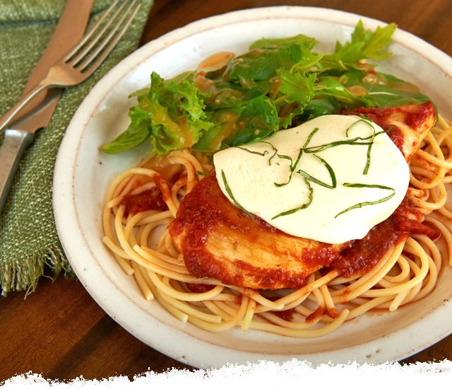 Simmered Chicken with Fresh Mozzarella and Basil