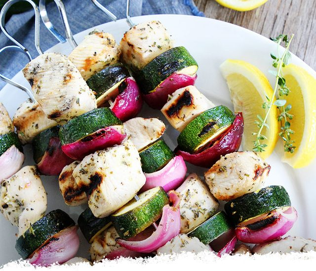 Grilled Chicken and Zucchini Kebabs