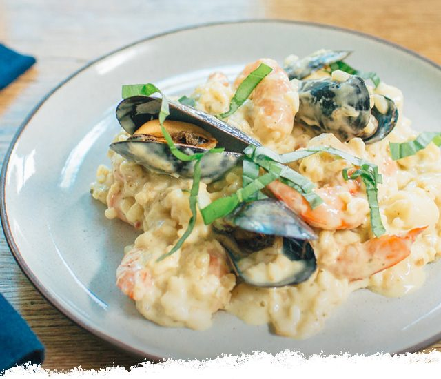 No-Stir Creamy Basil Seafood Risotto