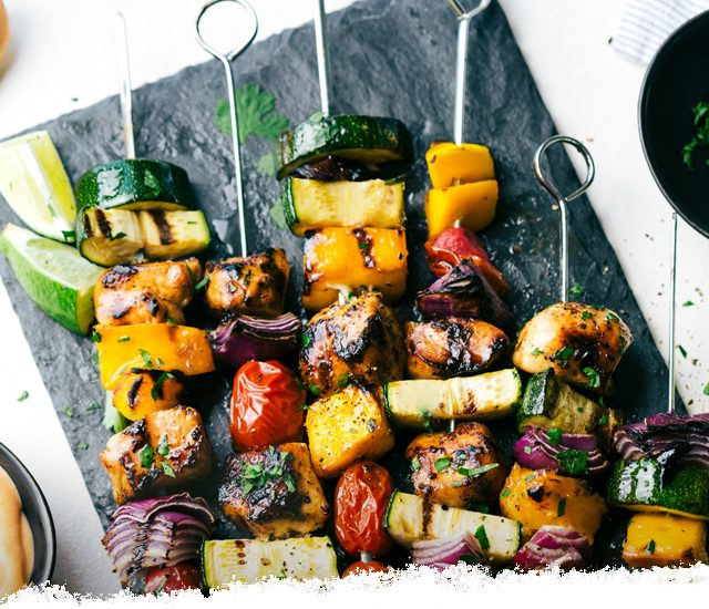 Orange Ginger Chicken Veggie Kebabs