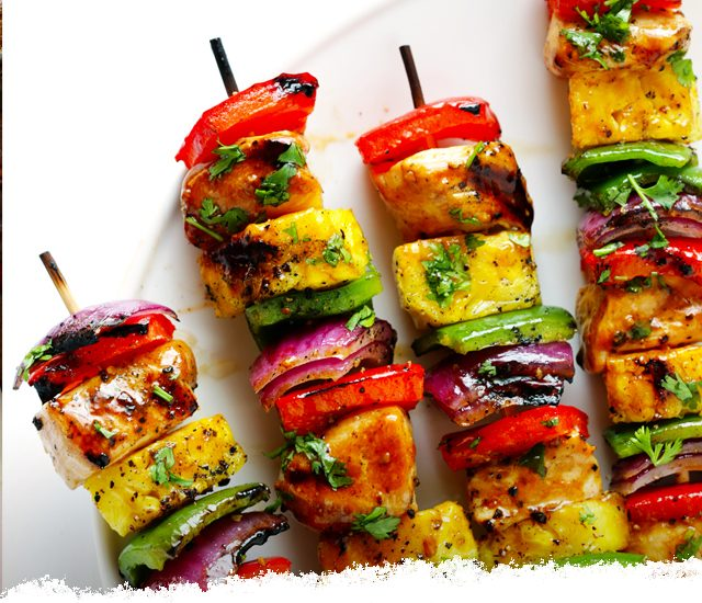 Rainbow Hawaiian Chicken Kebabs