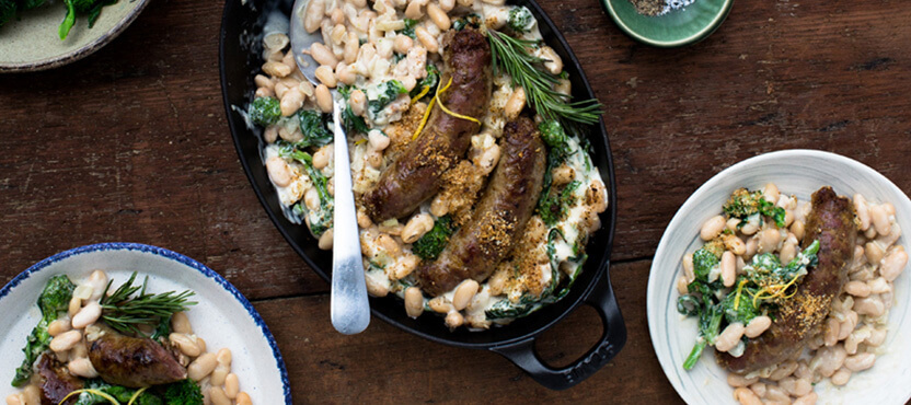 Creamy White Bean Gratin with Broccoli Rabe and Sausage