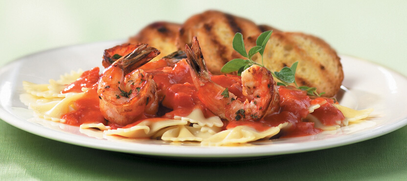 Farfalle with Herb-Marinated Grilled Shrimp