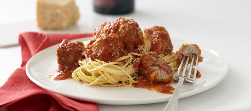 Stuffed Meatballs with Spaghetti
