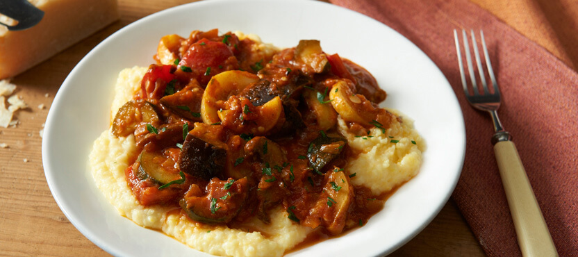 Asiago Giambotta (Vegetable Stew) Over Parmesan Polenta