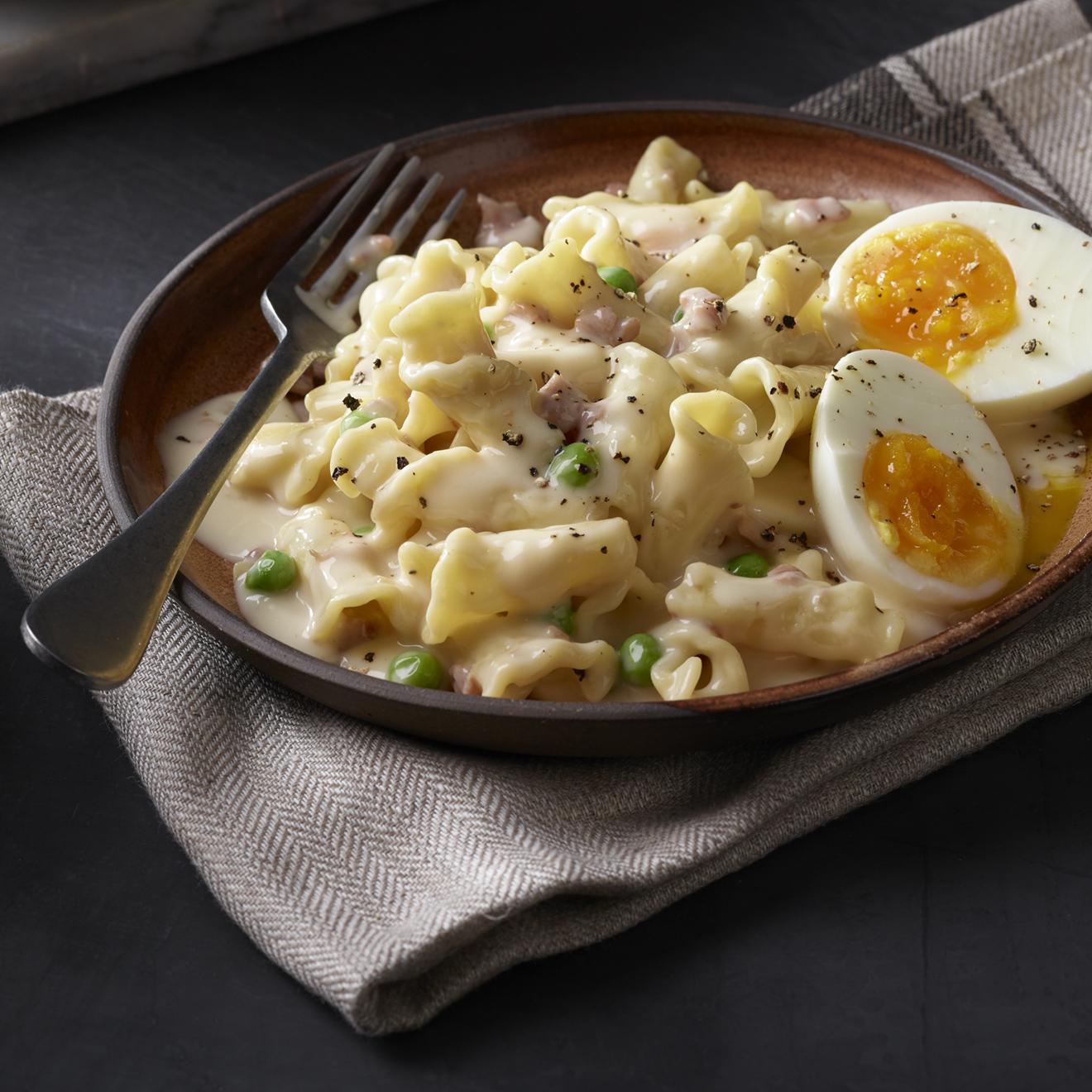 Campanelle with Prosciutto & Peas