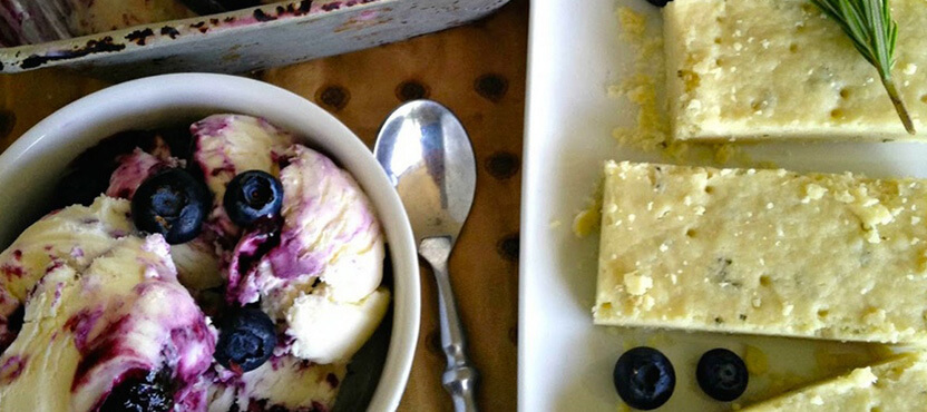 Balsamic Blueberry Ice Cream with Olive Oil-Rosemary Shortbread