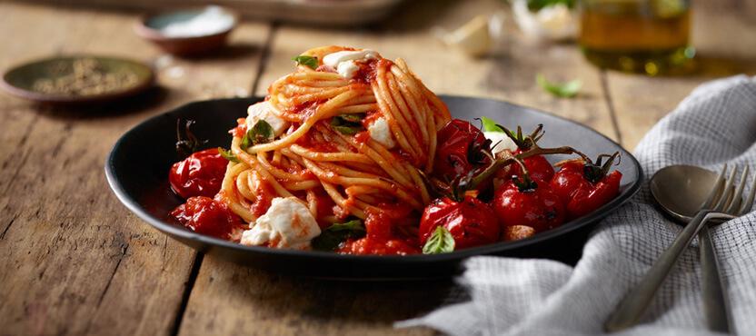 Spaghetti with Burrata & Blistered Cherry Tomatoes