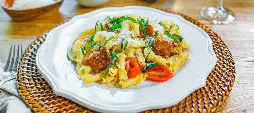 Campanelle with Zucchini, Tomatoes and Basil
