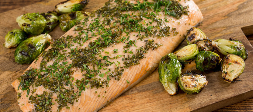 Cedar Plank Grilled Salmon & Brussels Sprouts