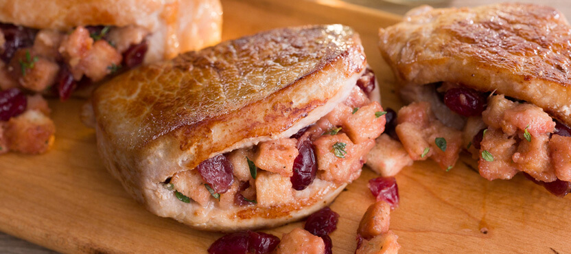Orange Cranberry Stuffed Pork Chops
