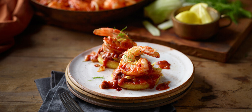 Pan-Fried Polenta Rounds with Shrimp