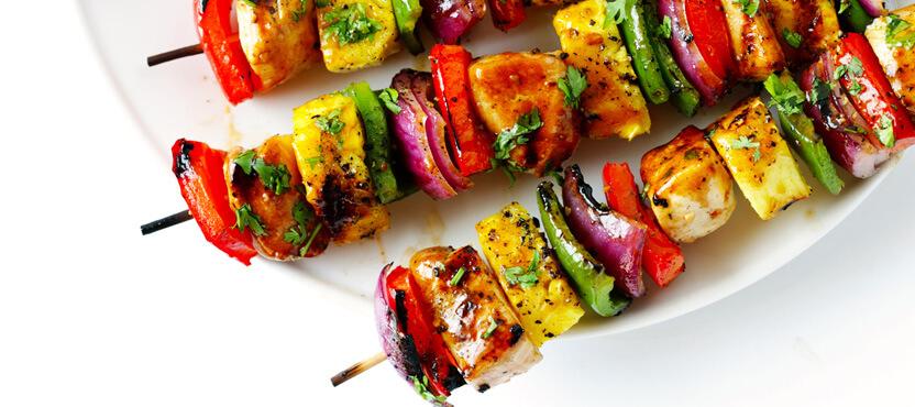 Rainbow Hawaiian Chicken Kebabs