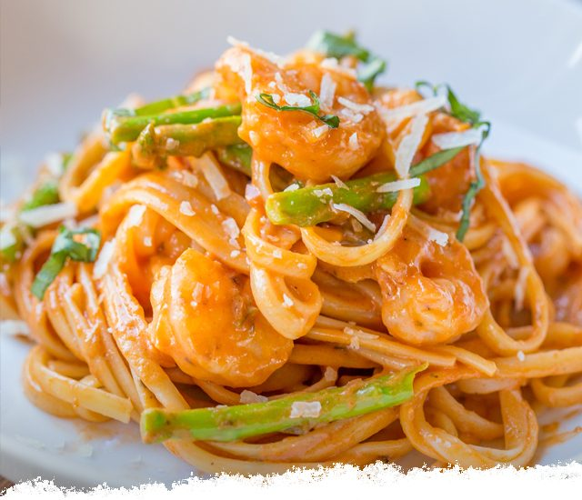 Rosa Shrimp & Asparagus with Spaghetti