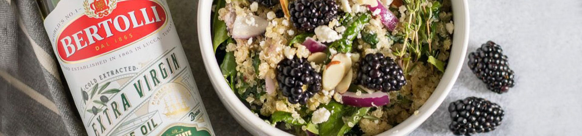 Blackberry Spinach Quinoa Salad with Blackberry Thyme Infused Olive Oil
