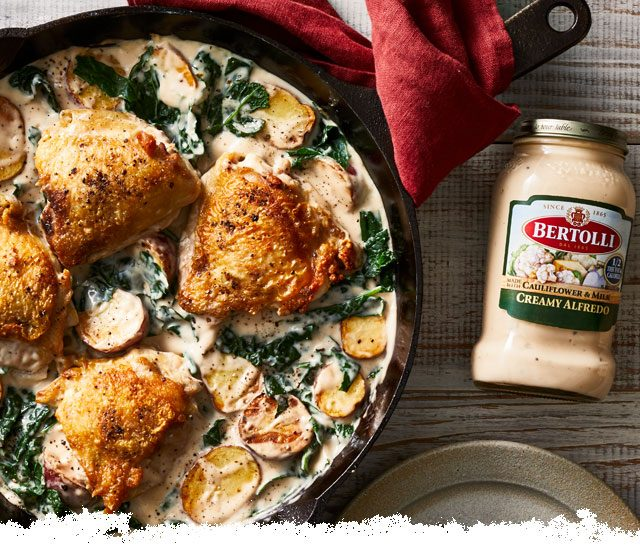 Seared Chicken with Creamy Potatoes and Kale