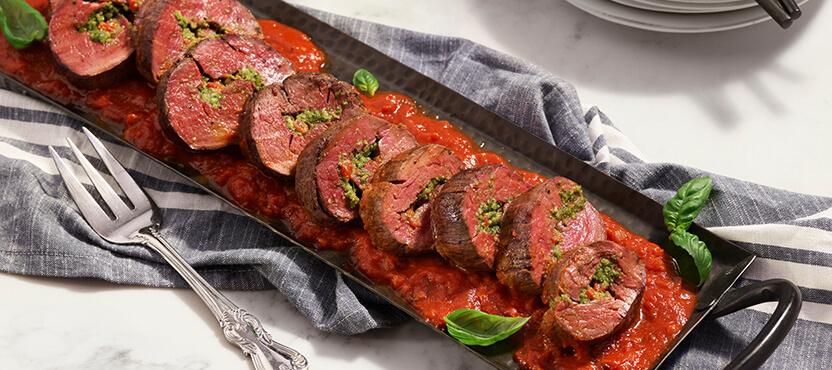 Pesto-Stuffed Beef Tenderloin